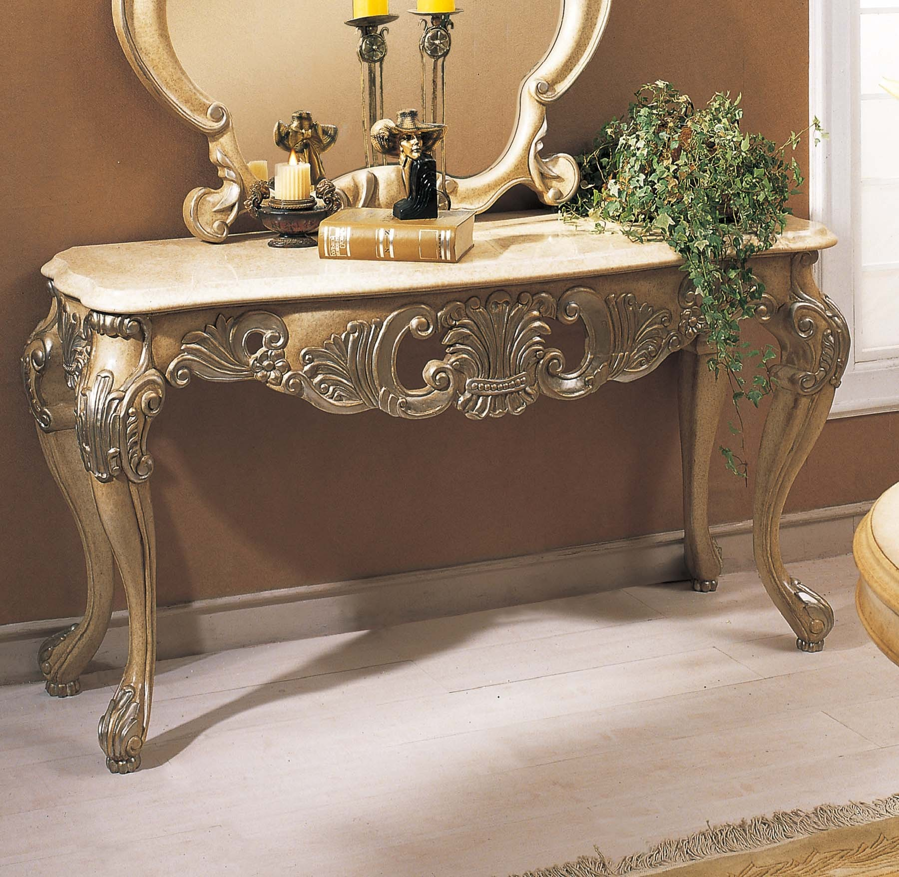 Sullivan Console Table w/ Marble Top in Antique Bisque