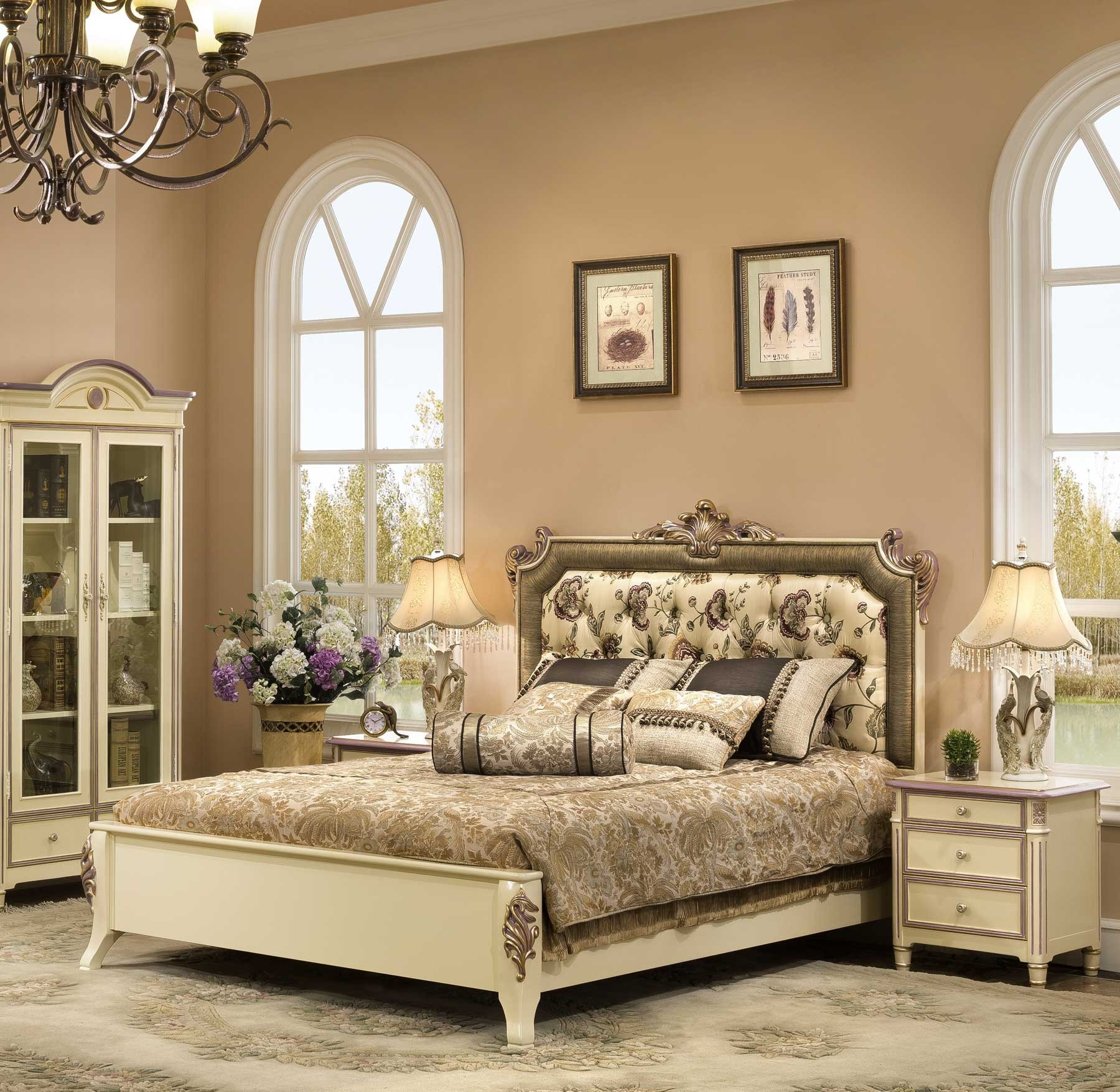 Fleming Bed shown in Stella Blanc finish