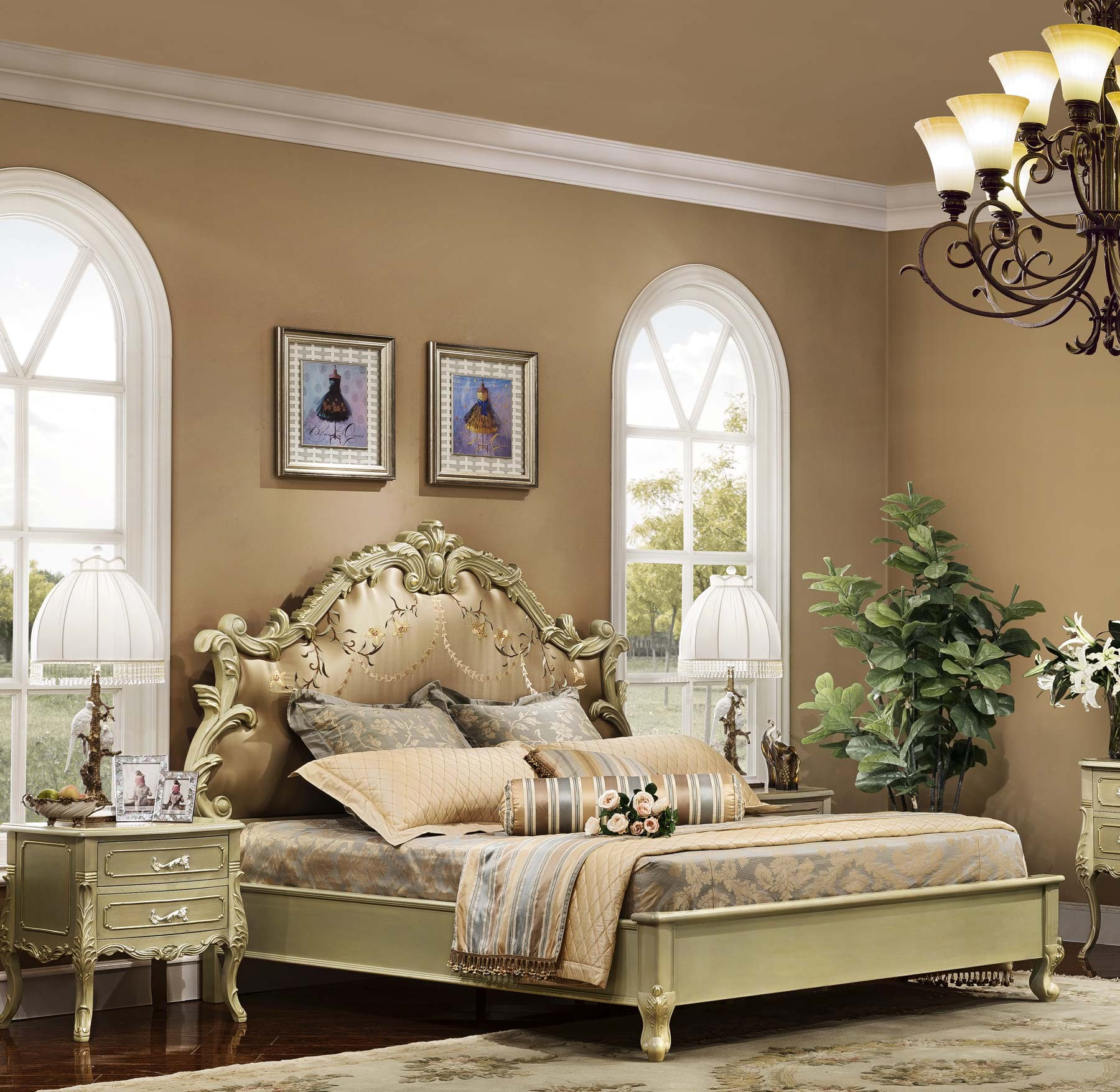 Langham Bed shown in Antique Sage finish