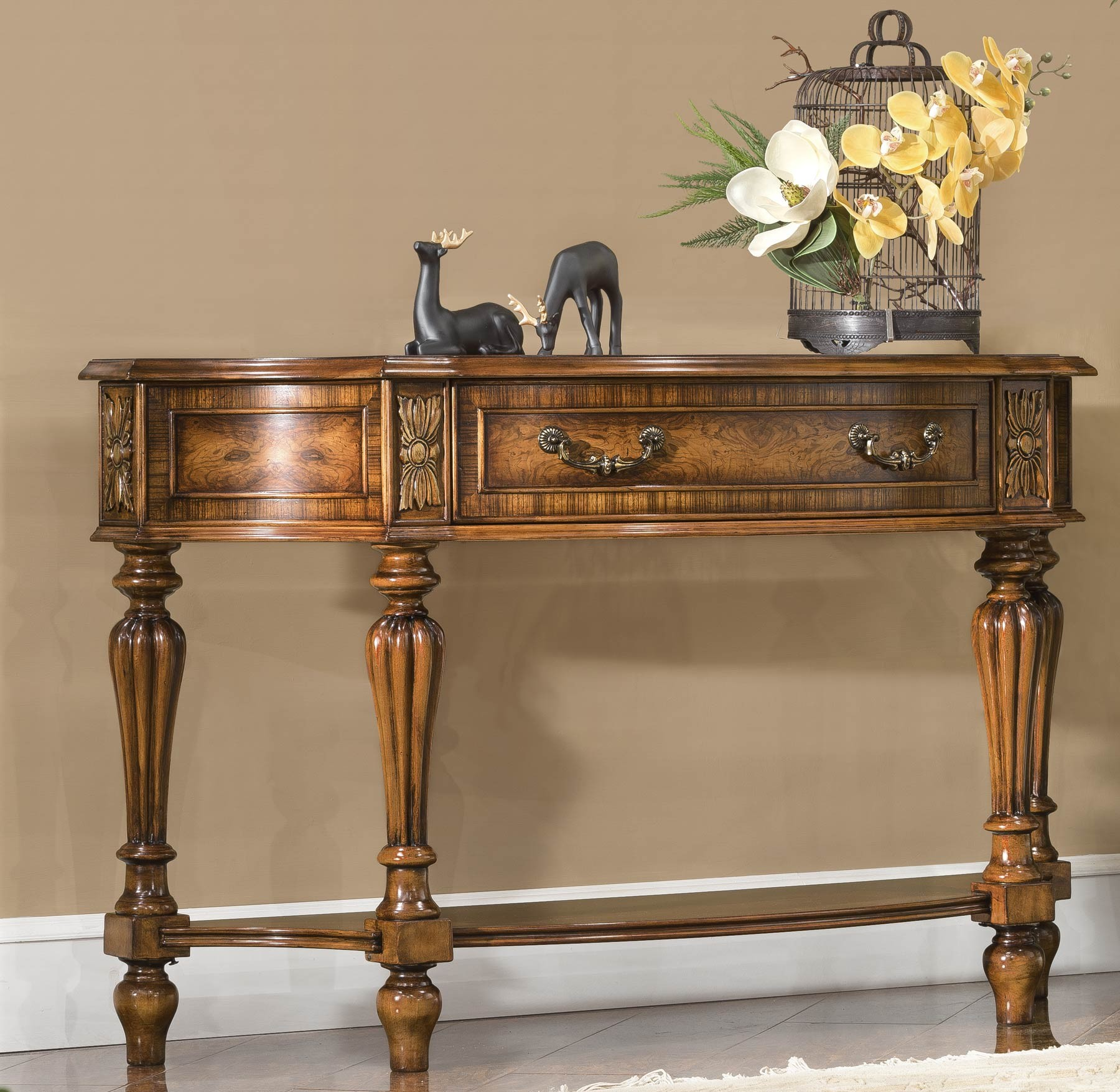 Leighton Console Table shown in Antique Silver Leaf finish