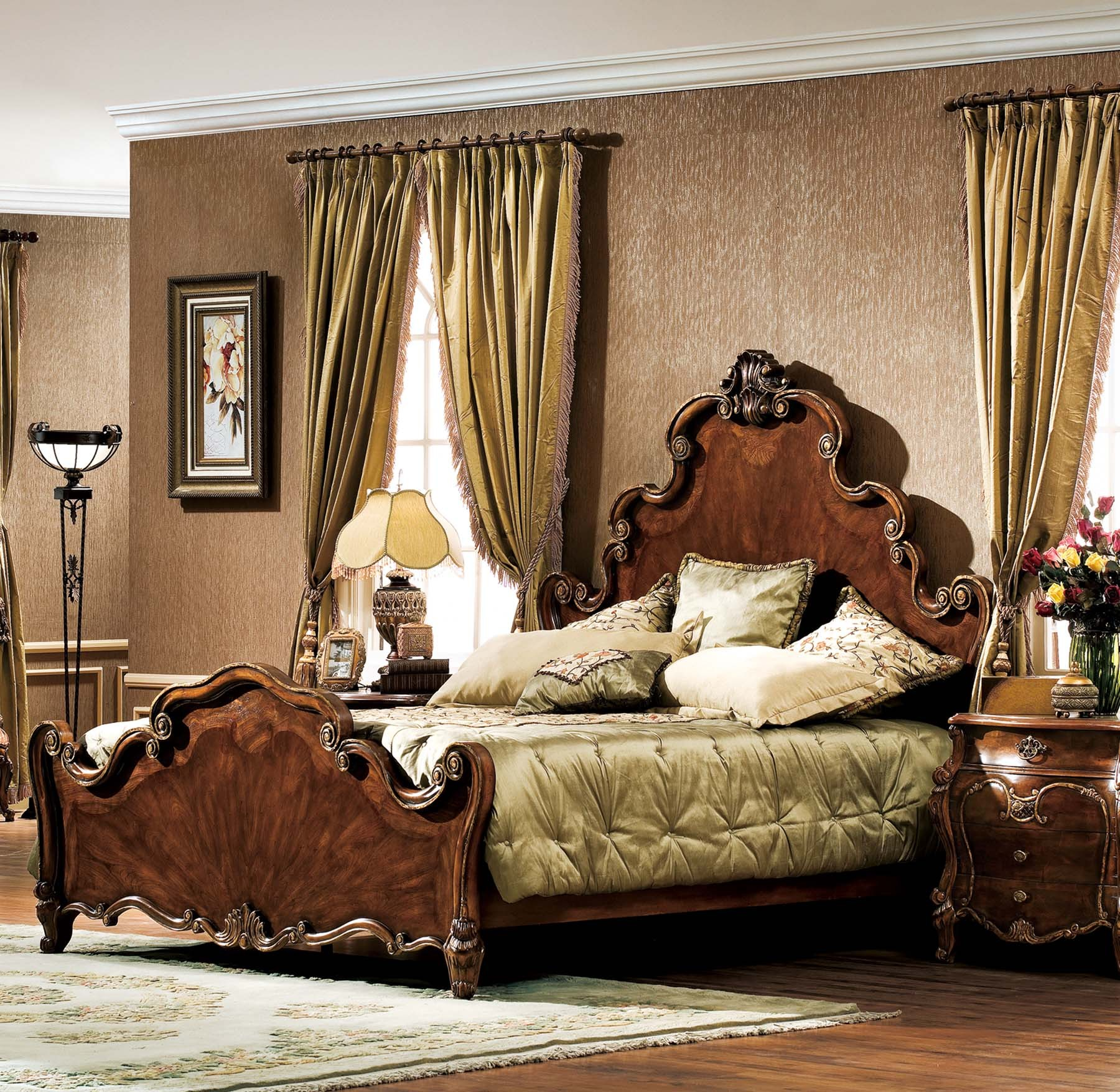 Corinth Bed shown in Antique Walnut finish