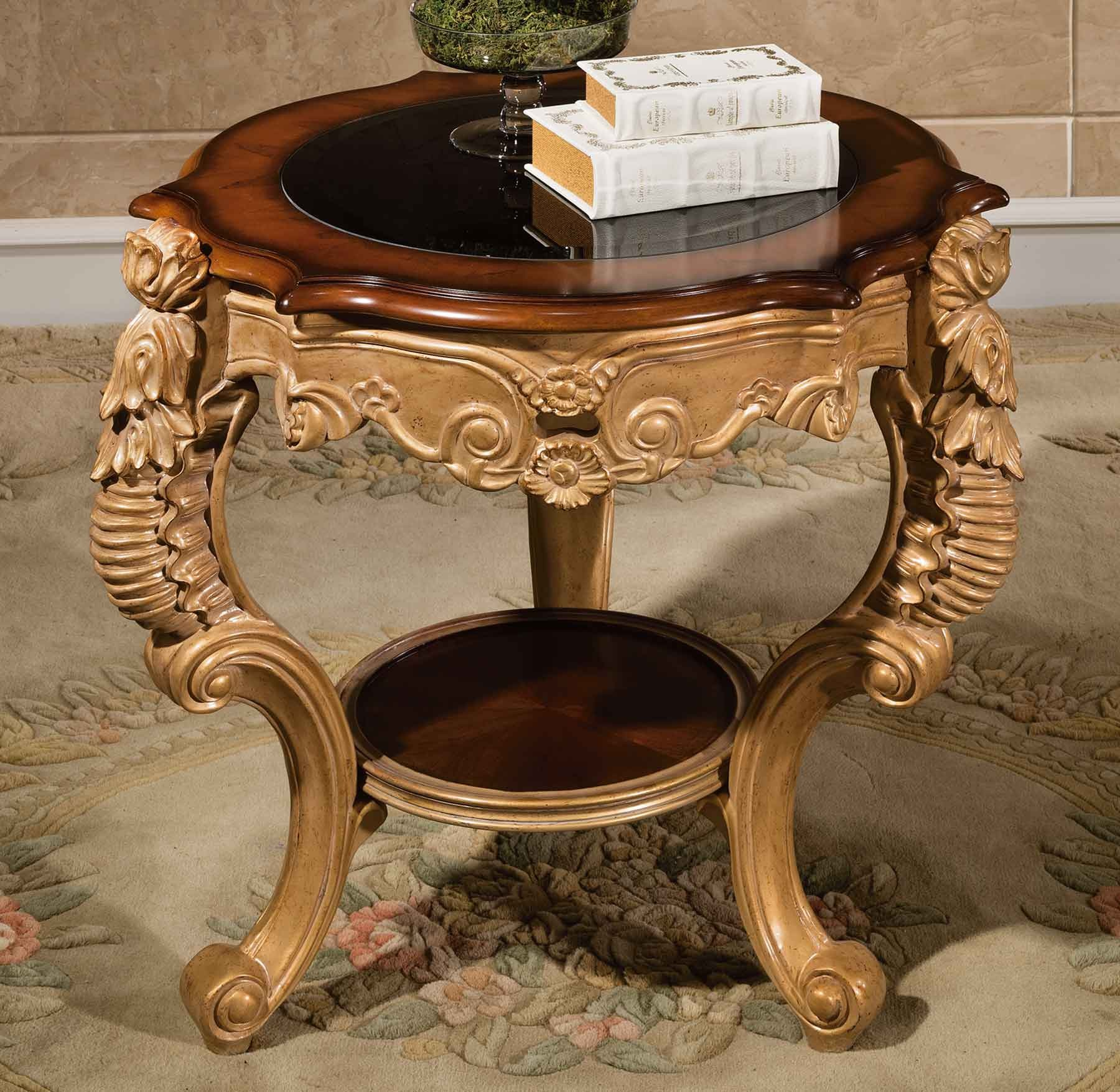fountaine end table w glass top shown in an antique gold finish