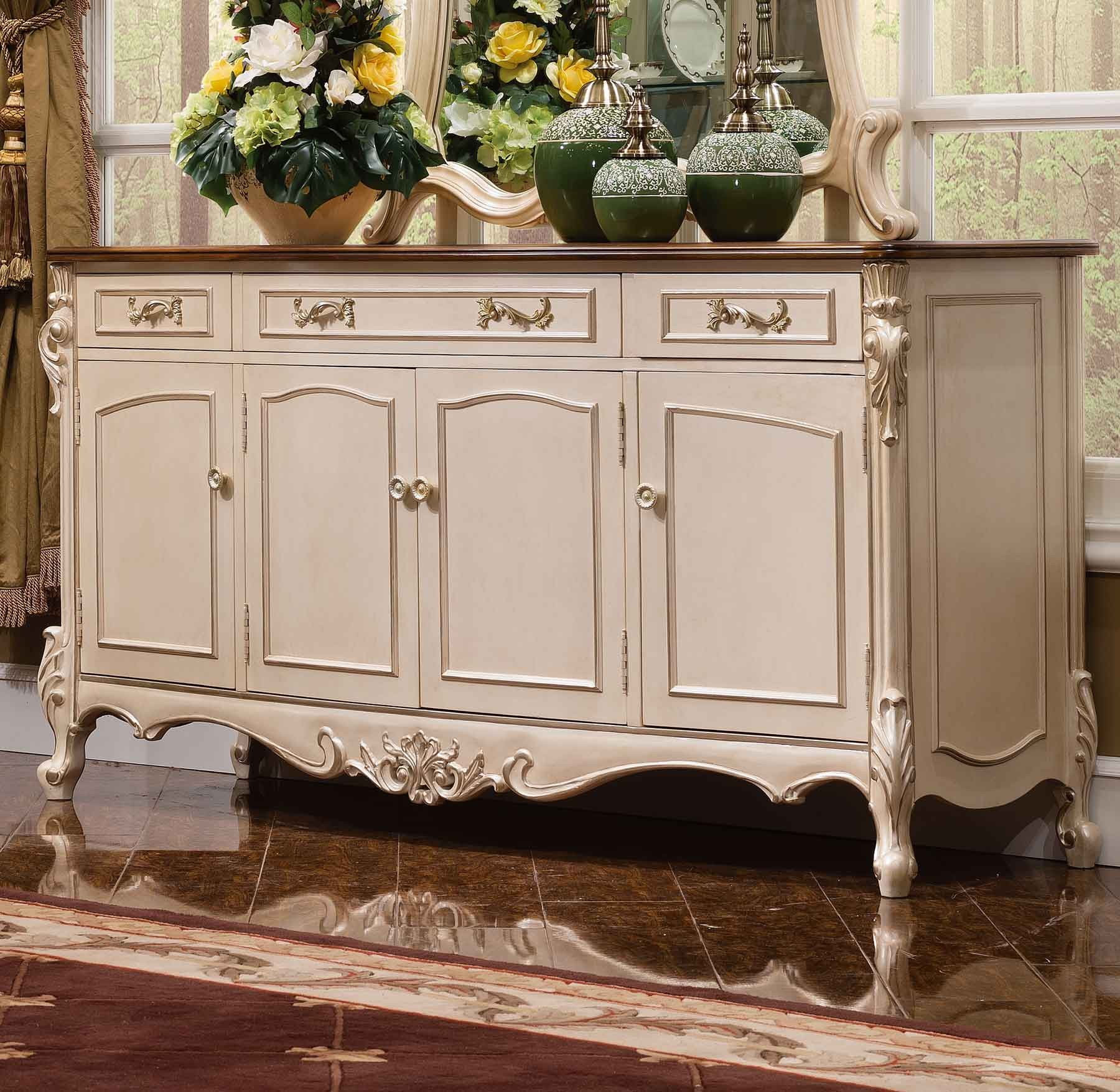 Prescott Credenza in Egyptian Pearl finish with Antique Cognac top.